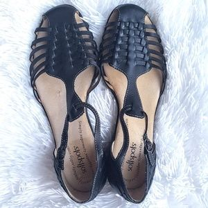Softspots Black Leather Strappy Sandals 9.5 N
